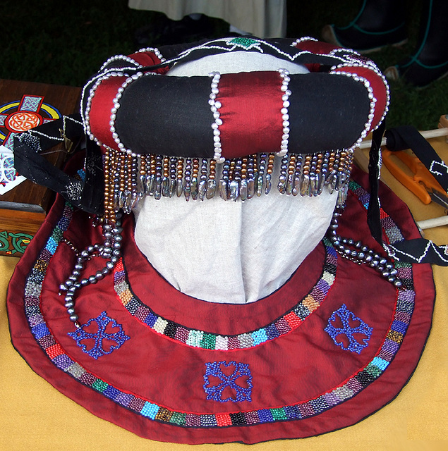Beaded Headdress and Collar at the Fort Tryon Park Medieval Festival, Sept. 2007