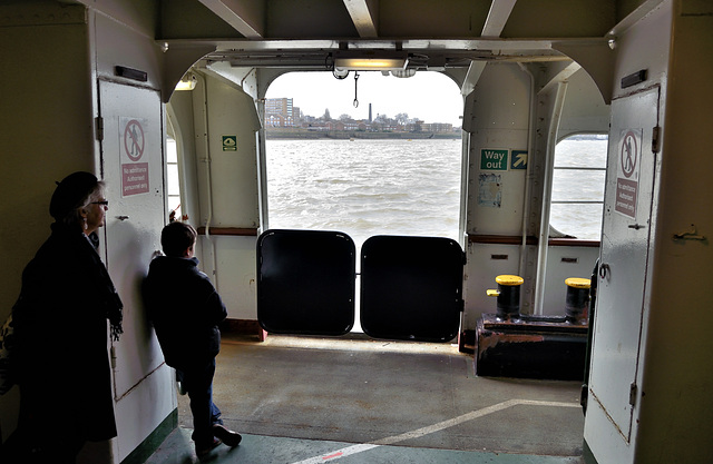 Margaret and Dylan on the Woolwich Ferry