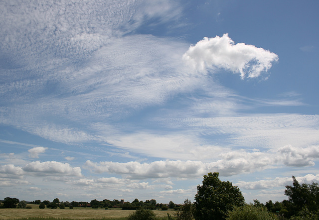 Summer clouds over Newton, Suffolk, England