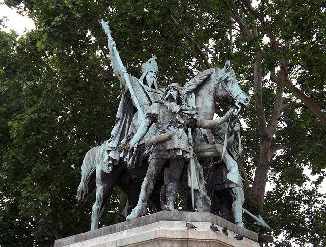 Statue of Charlemagne and his Vassals in front of Notre Dame in Paris, June 2013