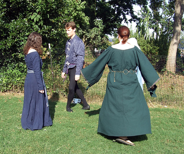 Wilhelm, Ysenda, Conandil, and Margarita Dancing at the Fort Tryon Park Medieval Festival, Sept. 2007