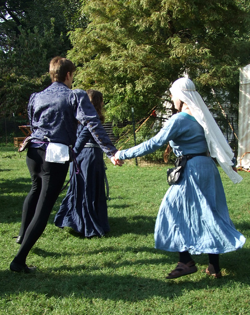 Conandil, Wilhelm, and Ysenda Dancing at the Fort Tryon Park Medieval Festival, Sept. 2007