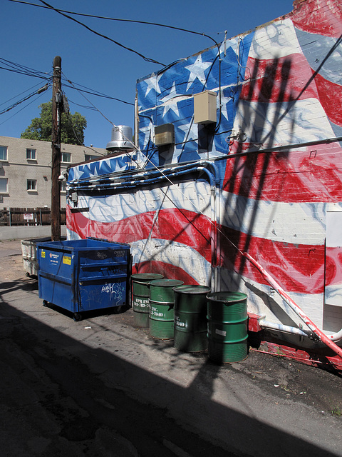 Wrinkly old glory of dumpsters and oildrums.