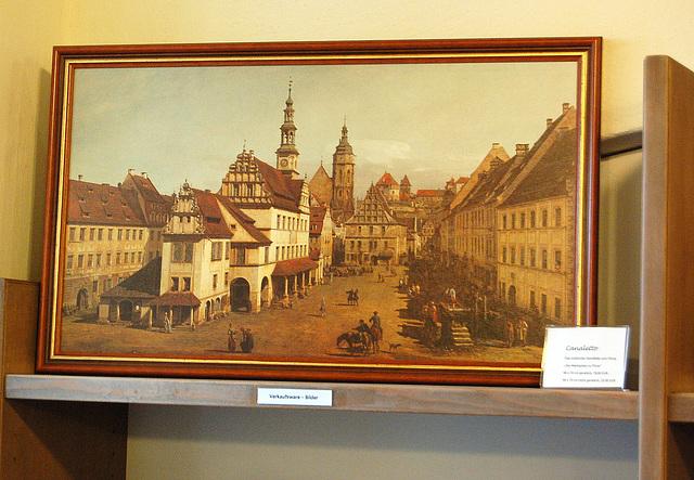 Foirplaco de Pirna laŭ Canaletto (Marktplatz von Pirna gemalt von Canaletto).