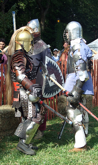 Fighters Chatting at the Fort Tryon Park Medieval Festival, Sept. 2007