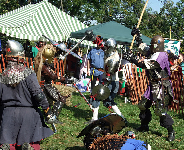 Fighters in a Three-on-Three Melee at the Fort Tryon Park Medieval Festival, Sept. 2007