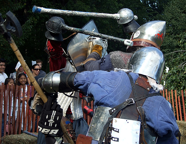 Close-up of Fighters at the Fort Tryon Park Medieval Festival, Sept. 2007