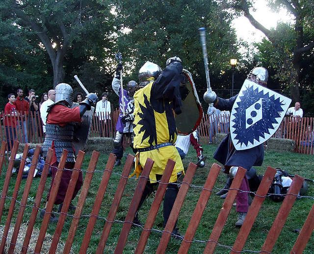 Fighters in a Melee at the Fort Tryon Park Medieval Festival, Sept. 2007