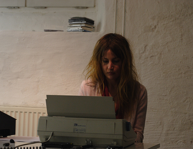 Helena J. and her typewriter