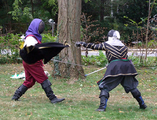 Lord Targai and Lady Marion Fencing at Agincourt, November 2007
