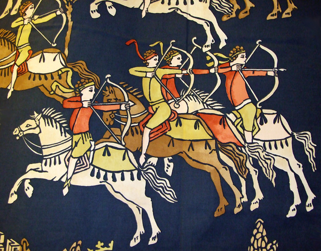 Detail of Mounted Archers on a Wall Hanging Decoration at the Coney Hop Event, February 2008
