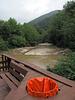 Orangeliness of West Virginia creekside trash sacks I saw.