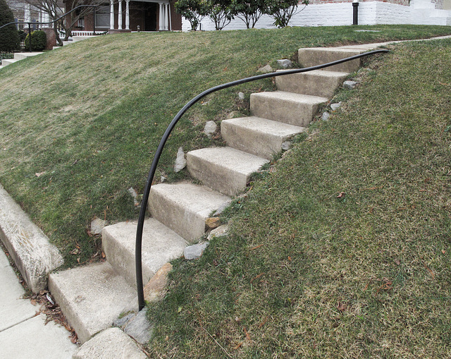 A handrail to ease me up and down the outdoor staircase.