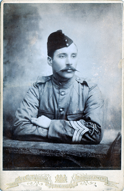 Sargeant (with marksman's sleeve badge), British Army c1890 (Cabinet Card)