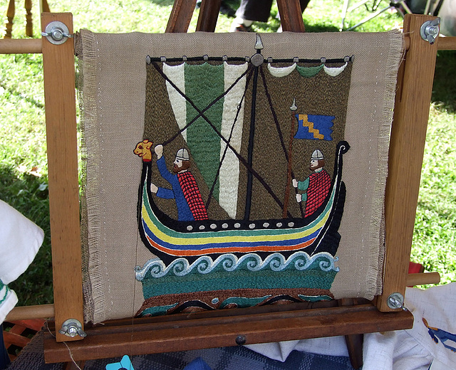 Viking Ship Embroidery at the Fort Tryon Park Medieval Festival, October 2009
