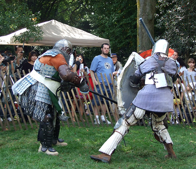 Sir Diablu and Ervald Fighting at the Fort Tryon Park Medieval Festival, October 2009