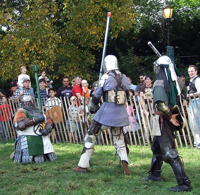 Sir Diablu vs. Ervald and Jibril at the Fort Tryon Park Medieval Festival, October 2009