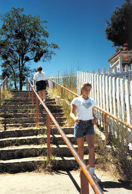 Stairway down to the San Andreas fault line.  Mission San Juan Bautista