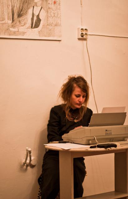 Helena J and a typewriter