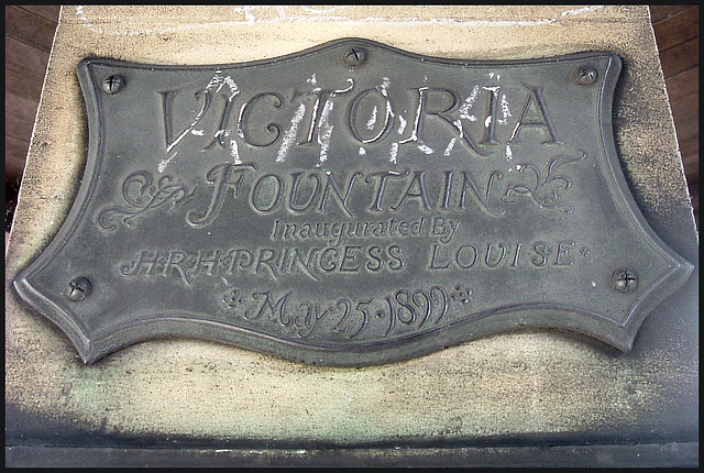 plaque on Victoria Fountain