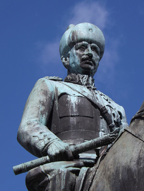 Detail of the Statue of Mannerheim, the Marshal of Finland in Helsinki, April 2013
