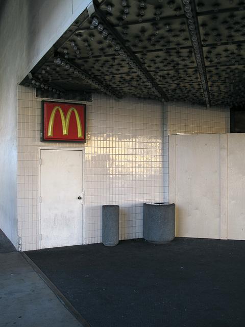 """""""Shine on!, tile wall of McDonald's and ceiling lightbulbs,"""" I said."""