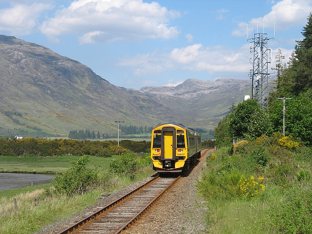 158717 leaves Attadale and heads for Strathcarron