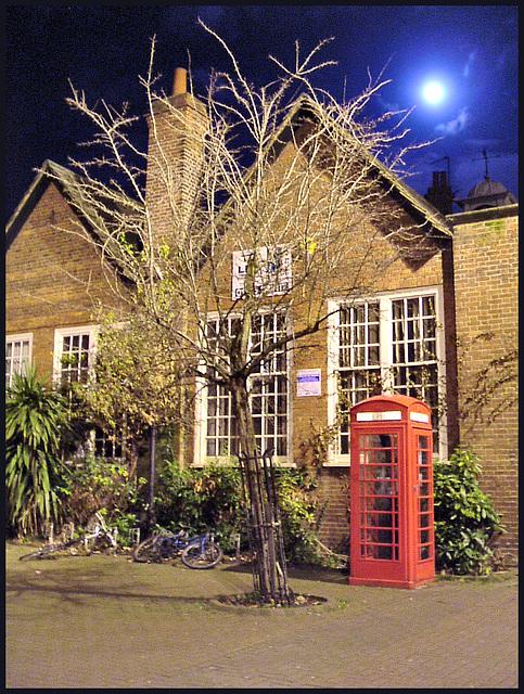 phone box at full moon