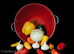 Colander and Vegetables Still Life