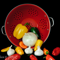 Colander and Vegetables Still Life