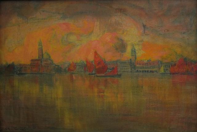 Blick vom Meer auf Venedig