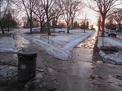 South Minneapolis nice area, springtime parkland eveningtime.