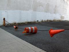 "Downtown Philadelphia ""do not enter"" parking lot installation."