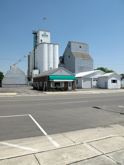 "The lordingly towering ""Walton Agri-Service, Inc."" grain elevators of downtown Upper Sandusky, Ohio, and adjacent bldgs."