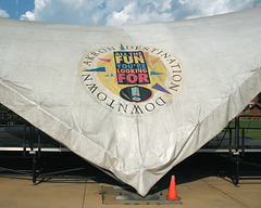 """Tarpaulin of Akron, """"All the fun you're looking for"""" slogan."""