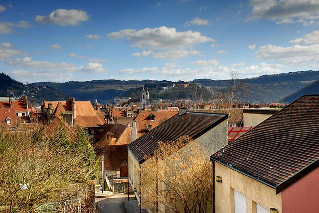 BESANCON: Les toits, la Citadelle.