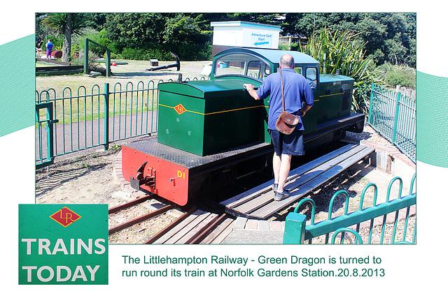 Littlehampton Railway Green Dragon is turned at Norfolk Gardens - 20.8.2013