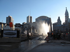 Downtown Philadelphia new pretty decorative fountain for people to look @.