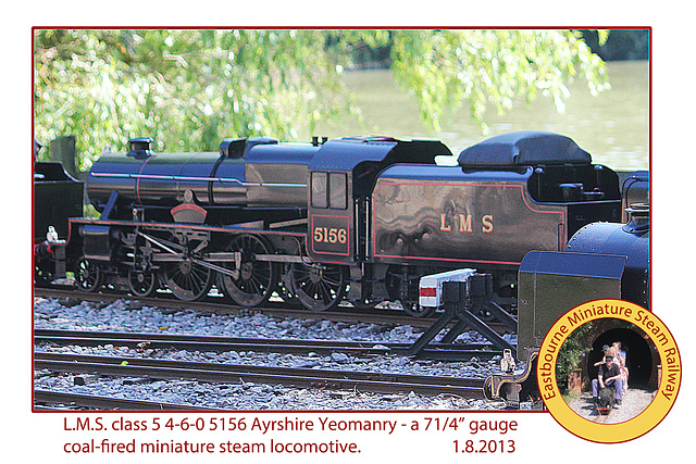 Eastbourne Miniature Steam Railway LMS cl5 460 5156 Ayrshire Yeomanry 1 8 2013