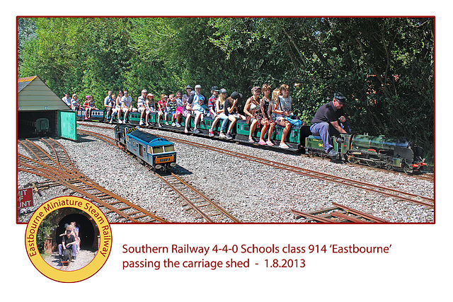Eastbourne Miniature Steam Railway Southern  440  914 Eastbourne on train 1 8 2013
