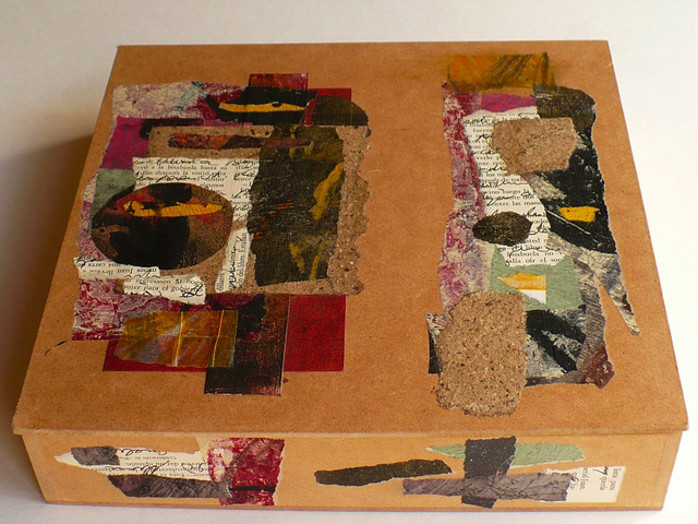 box outside (collaged papers)