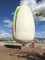 Among desert sunshine, the world's largest pistachio is out trying to get people's attention.