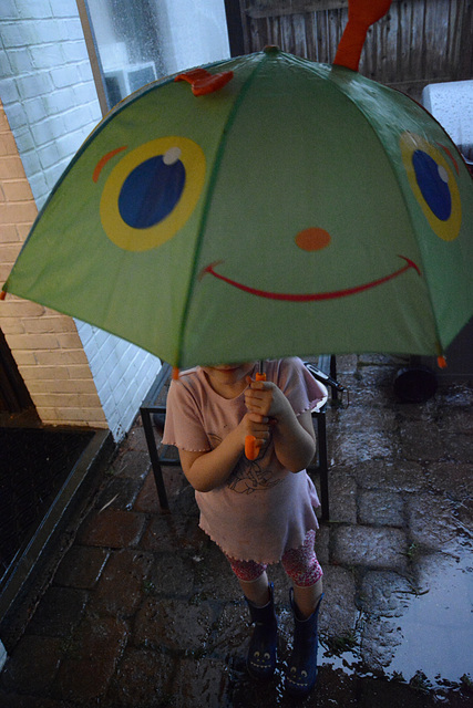 The incredible umbrella-faced girl