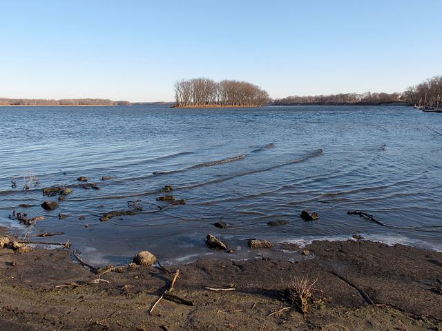 Coastal shoreline scene of Mississippi River.