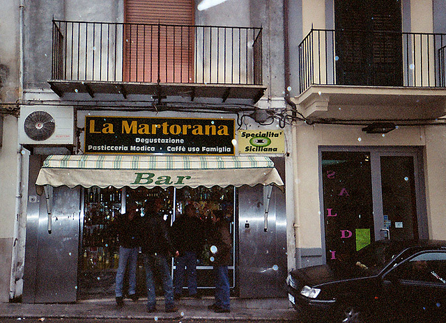 """La Martorana"" Bar in Monreale in the Rain, March 2005"