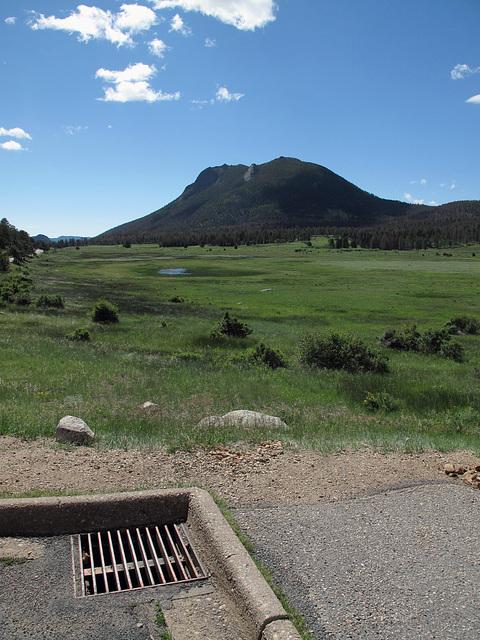 National park scenic overlook parking lot stormdrain.