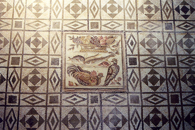 Geometric Mosaic With a Central Insert in the Palazzo Massimo alle Terme Museum in Rome, Dec. 2003