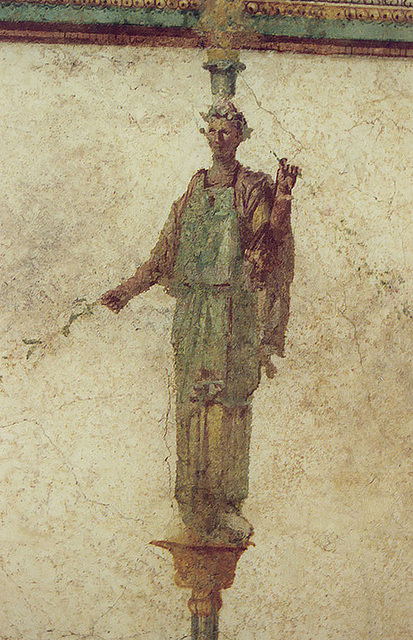Detail of a Wall Painting of a Caryatid in the Palazzo Massimo alle Terme Museum in Rome, Dec. 2003
