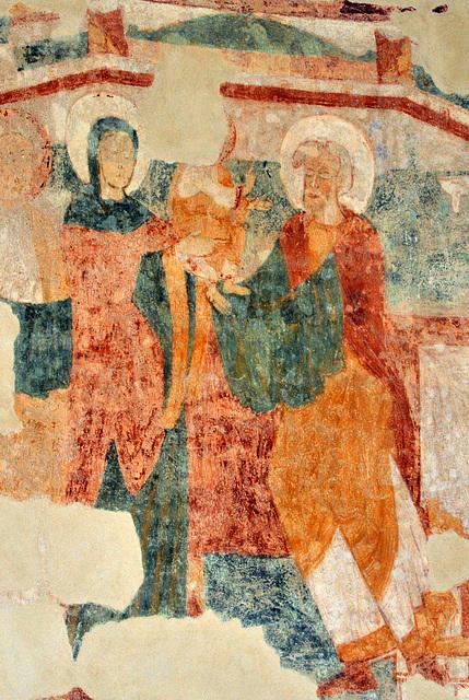 Présentation au temple - Fresques de la Chapelle du Liget (XIIe s.)