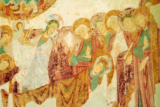 La mort de la Vierge - Fresques de la Chapelle du Liget (XIIe s.)